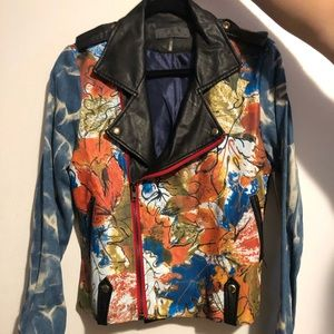Hand painted leather/denim jacket